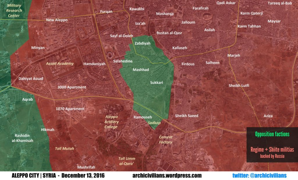 Aktuelle Lage in Ost-Aleppo am 13.12.2016
